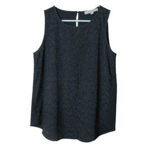 LOFT dark gray textured loose tank blouse S NWT
